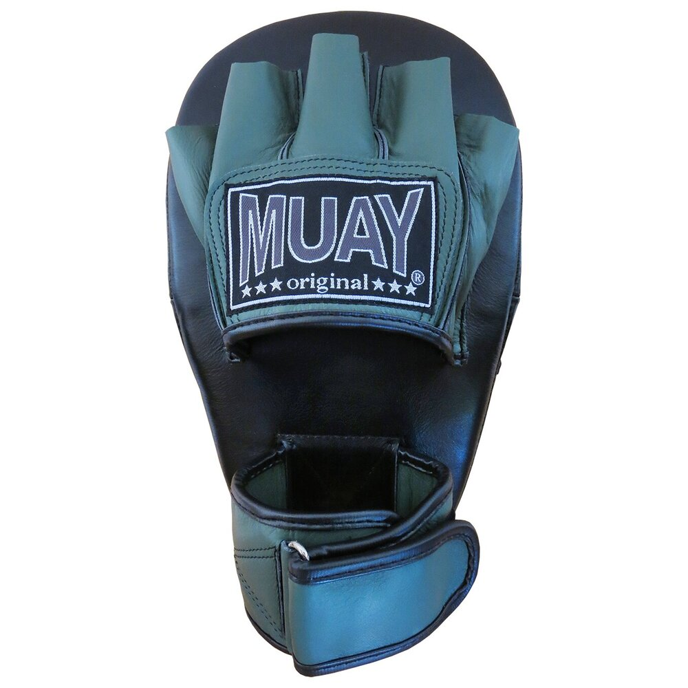 Muay curved coaching mitt Long with hand - Black/Army Green