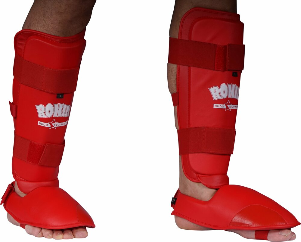 Karate Shin in step Protector cotton white with fastner closing